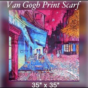 Accessories - Van Gogh Printed Satin Scarf泥 Wrap